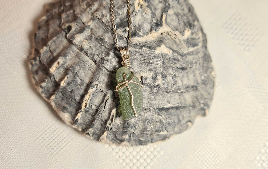 Green Sea Glass Sterling Silver Anklet