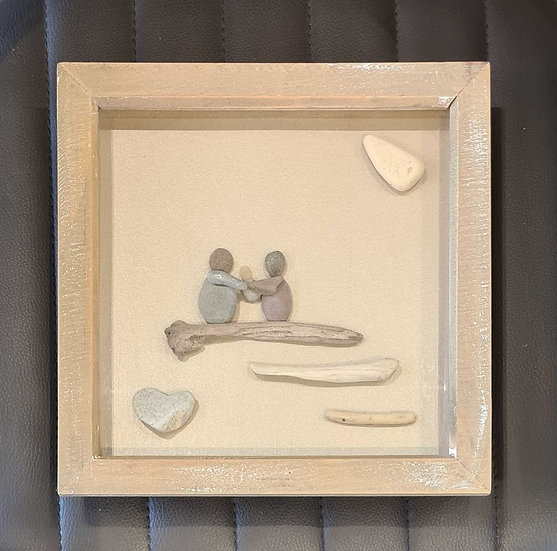Family with Baby Pebble Art Picture