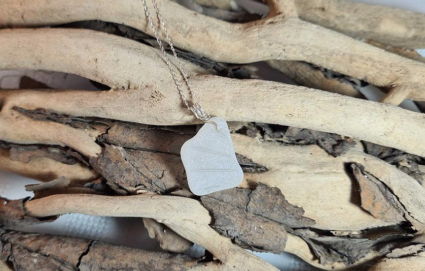 White Sea Glass Silver Necklace