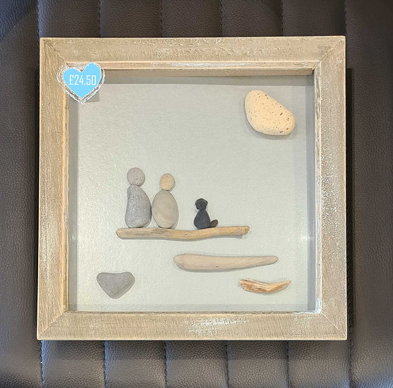 Couple with Black Dog Pebble Picture