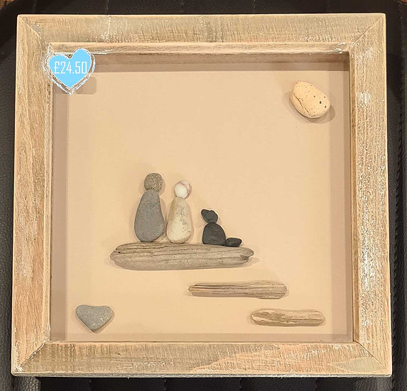 Couple with Dog - Pebble Art Picture