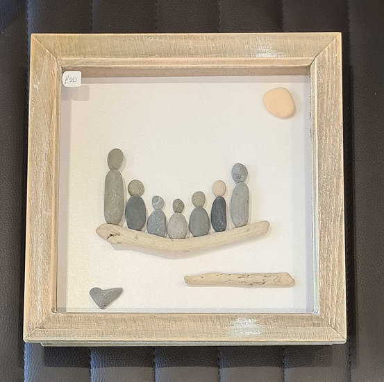 Family of 5 children Pebble Art Picture