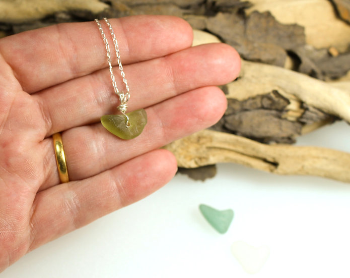 Green Heart Sea Glass Sterling Silver Bracelet
