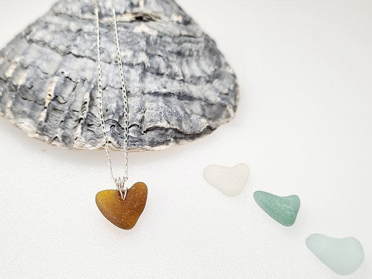 Brown Sea Glass Heart Bracelet