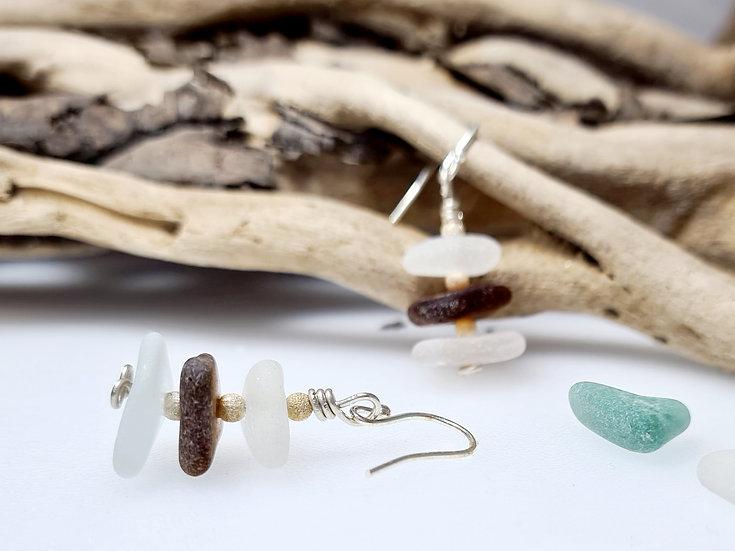 White & Brown Sea Glass Silver Earrings