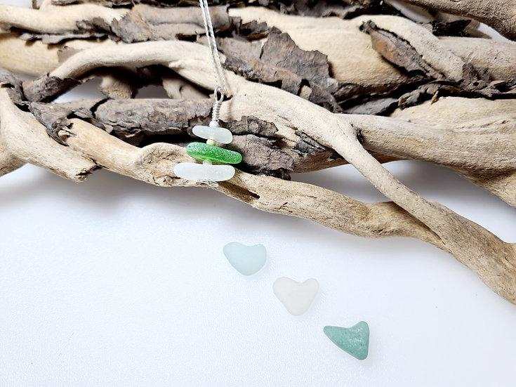 White & Green Sea Glass Stacker Necklace