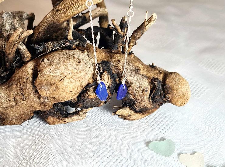 Cobalt Blue Sea Glass Dropper Earrings