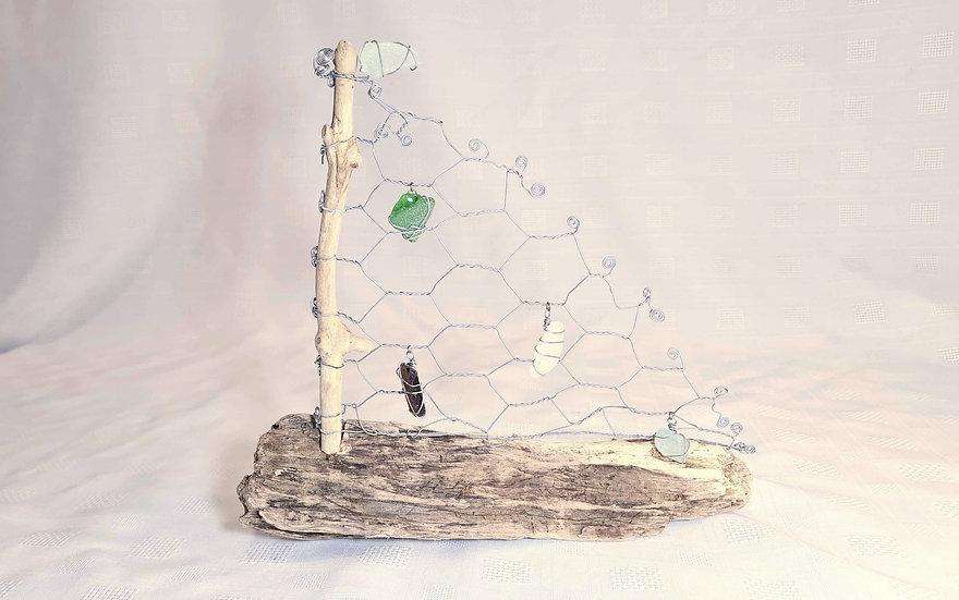 Sea Glass & Driftwood Boat