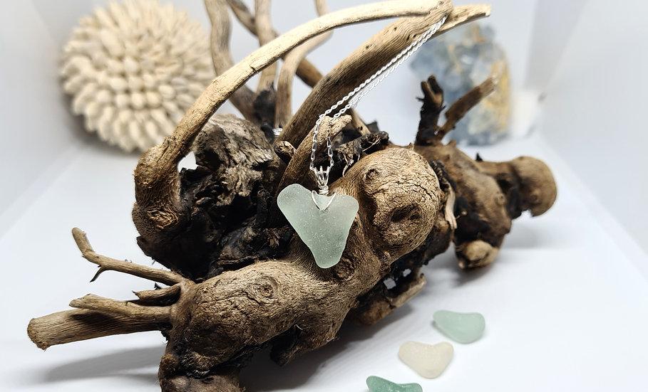 Aqua Pale Blue Heart Silver Necklace
