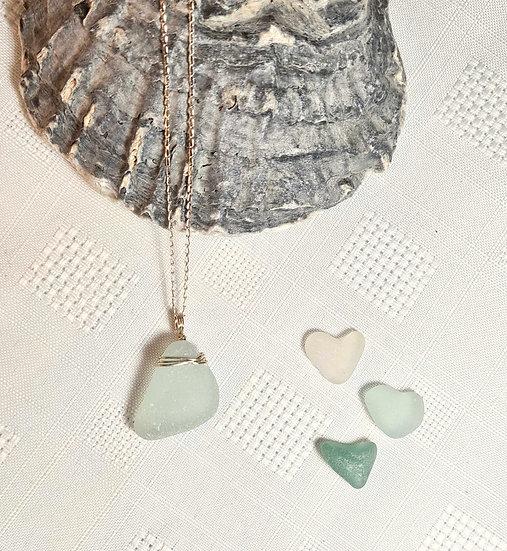 Aqua Sea Glass Silver Necklace