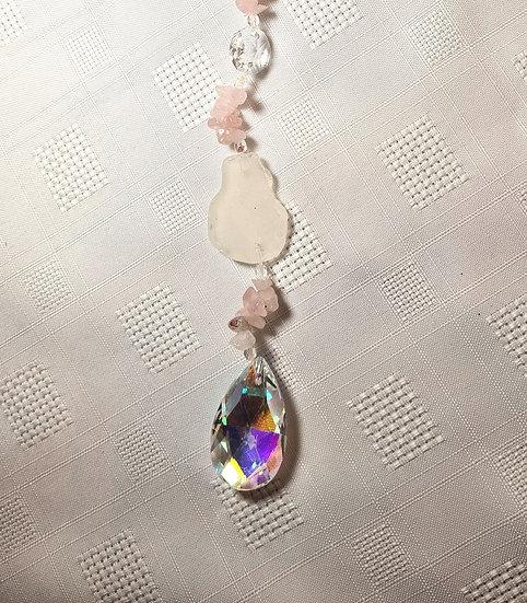 White Sea Glass & Rose Quartz crystal Suncatcher
