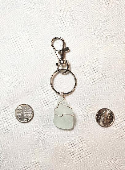 Pale Aqua Sea Glass Keyring (small)