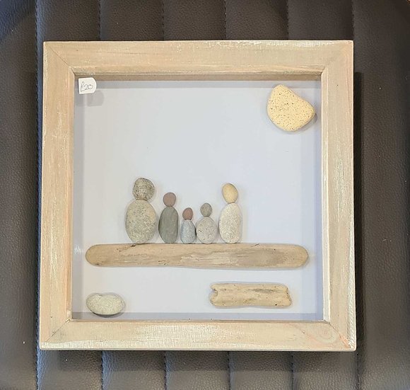 Family with 3 Children Pebble Art Picture