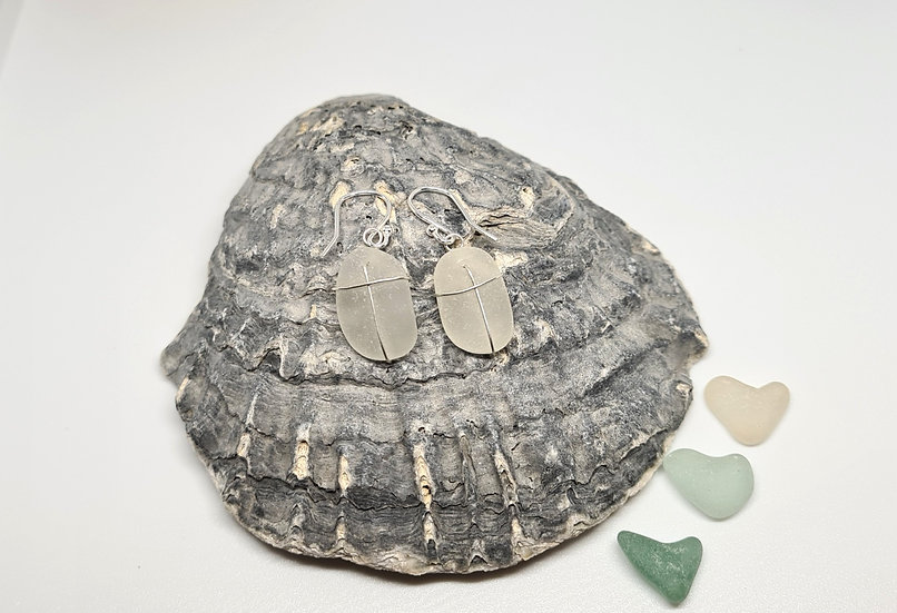 White Sea Glass Silver Dropper Earrings