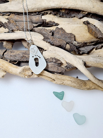 White Sea Glass Carved Footprint Necklace