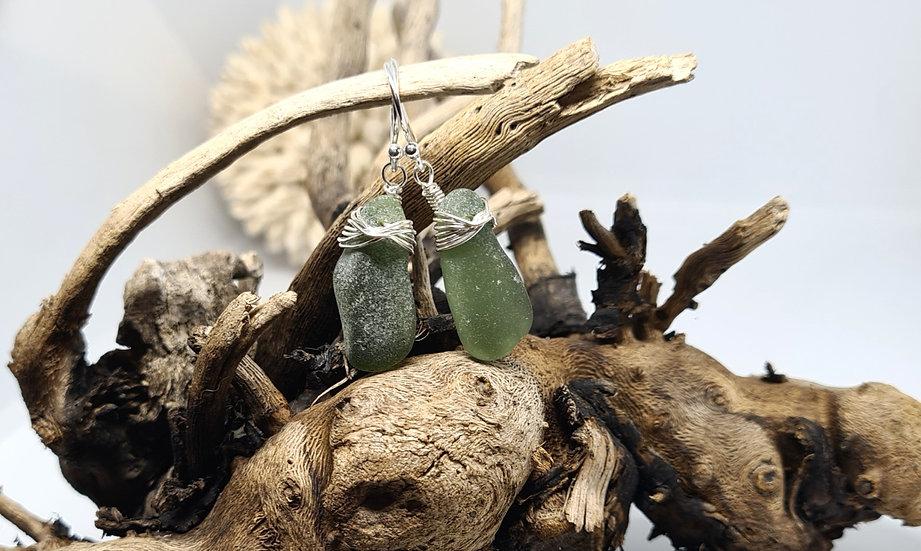 Green Sea Glass Silver Dropper Earrings