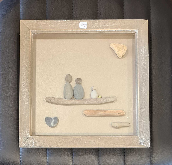 Couple with Cream Dog Pebble Picture