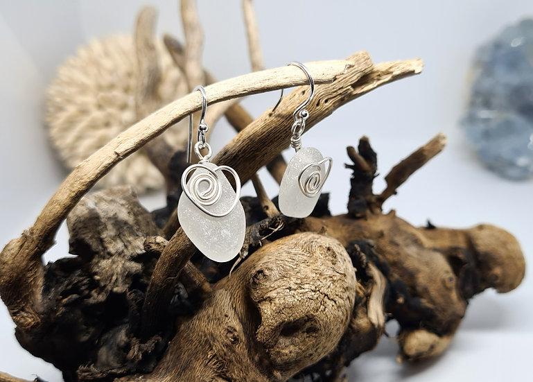 White Sea Glass Silver Heart Earrings