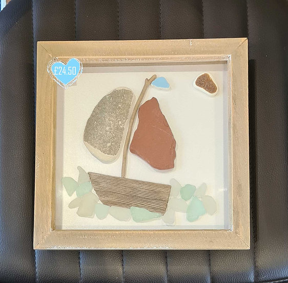 Tile & Driftwood Boat Picture