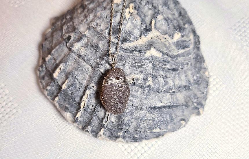 Dark Brown Sea Glass Silver Bracelet