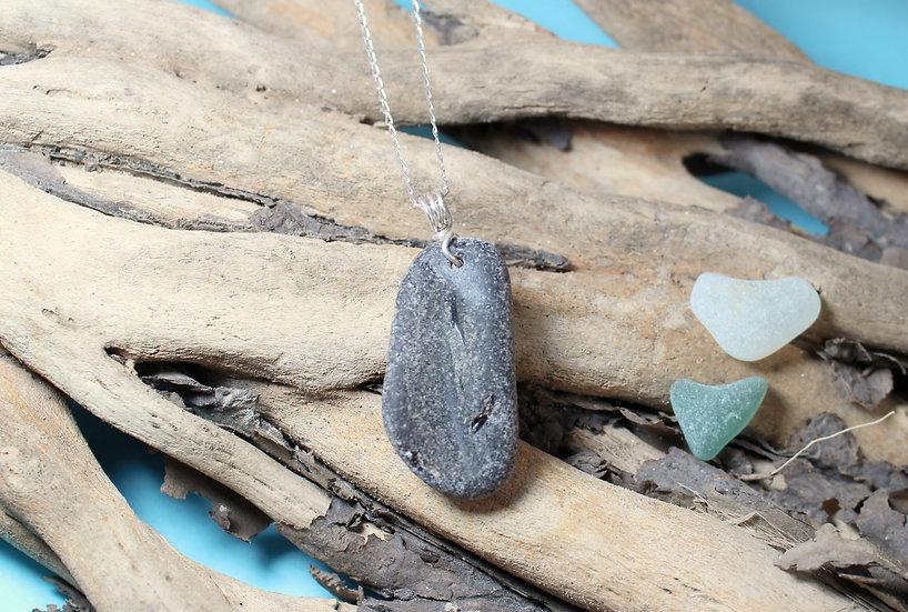 Rare Black Sea Glass Sterling Silver Necklace