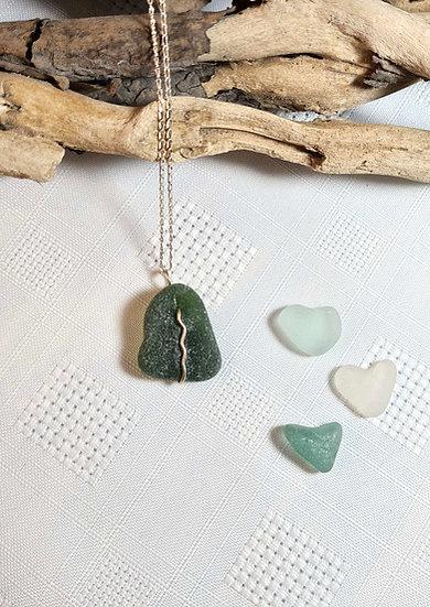 Dark Green Sea Glass Silver Necklace