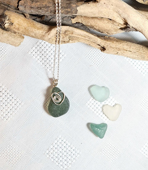 Green Sea Glass Silver Heart Necklace