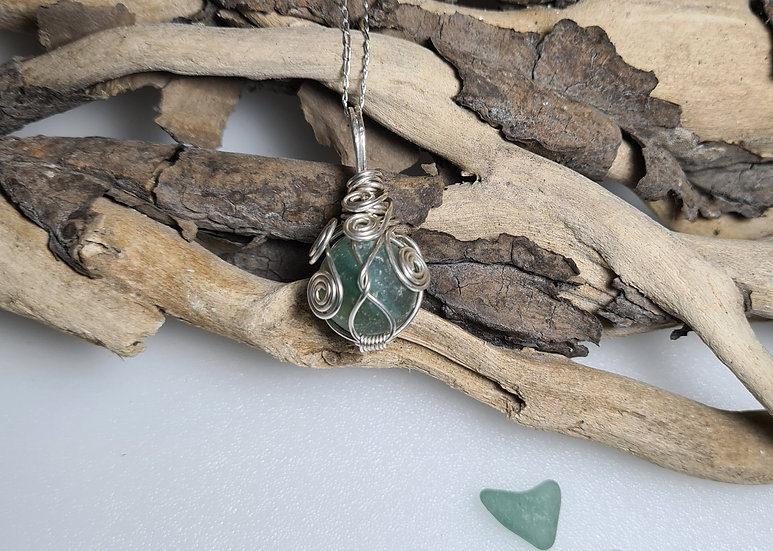 Turquoise Stripe Sea Glass Marble Silver Necklace