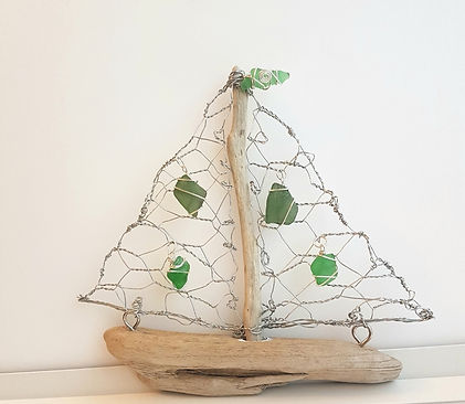 Sea Glass & Driftwood Boat