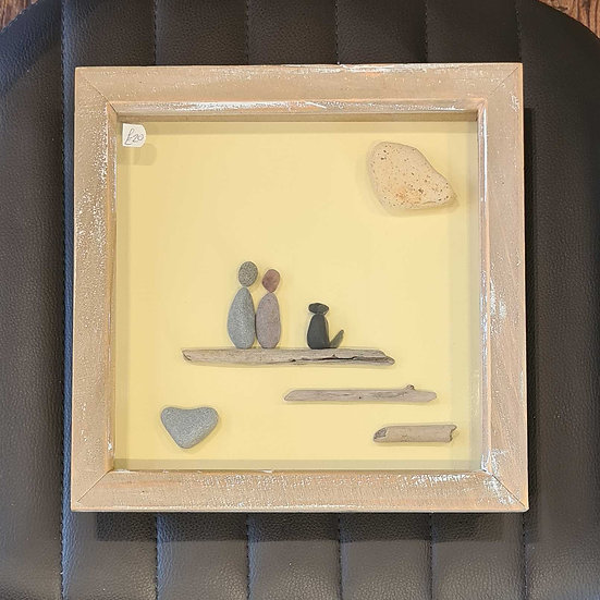 Pebble Couple with Black Dog