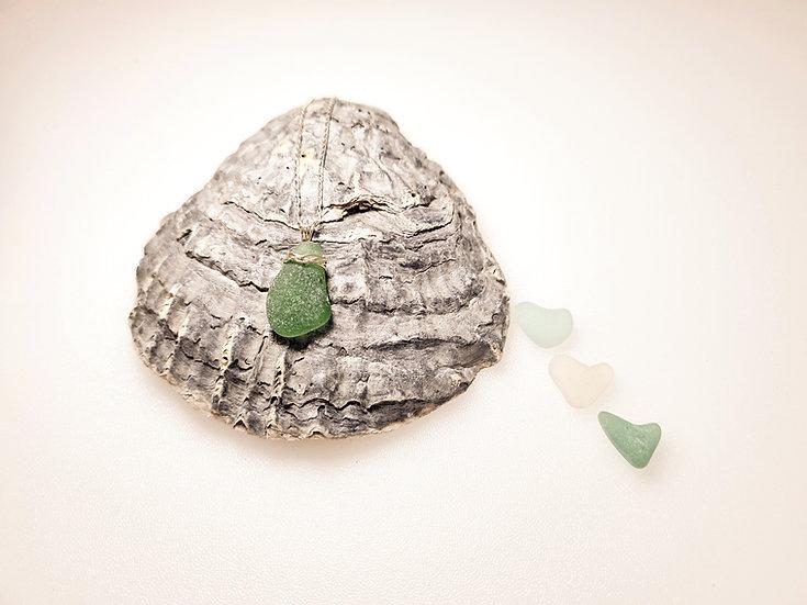 Green Sea Glass Sterling Silver Bracelet