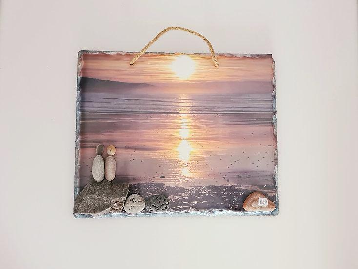 Pebble Couple on Sunrise Slate