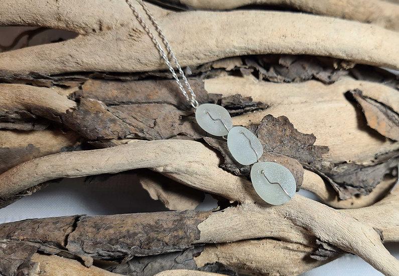 3 Drop Aqua Sea Glass Necklace