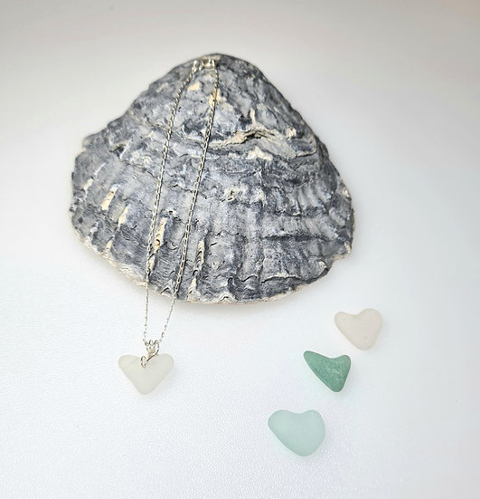 Natural White Sea Glass Heart Bracelet