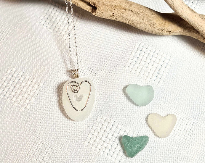 White Sea Glass Heart Carved Necklace