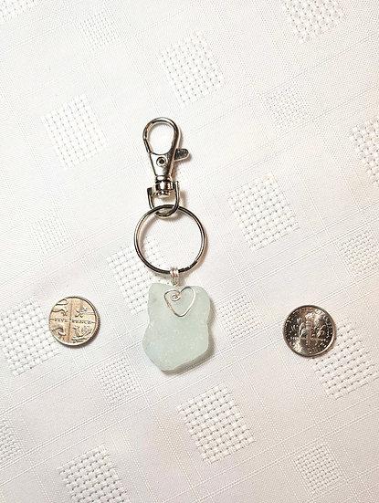 Aqua Sea Glass Keyring (small)