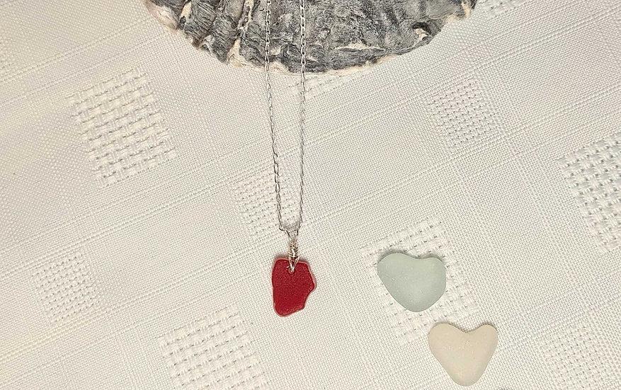 Small Rare Red Sea Glass Necklace