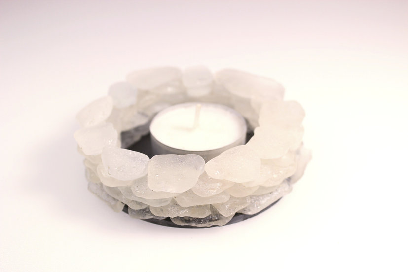 White Sea Glass Tealight Holder