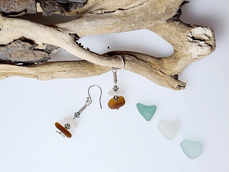 White & Brown Sea Glass, Swarovski Crystal Earrings