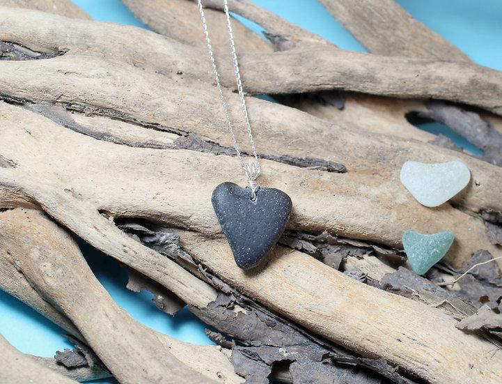 Very 'Rare' Black Sea Glass Heart Silver Necklace