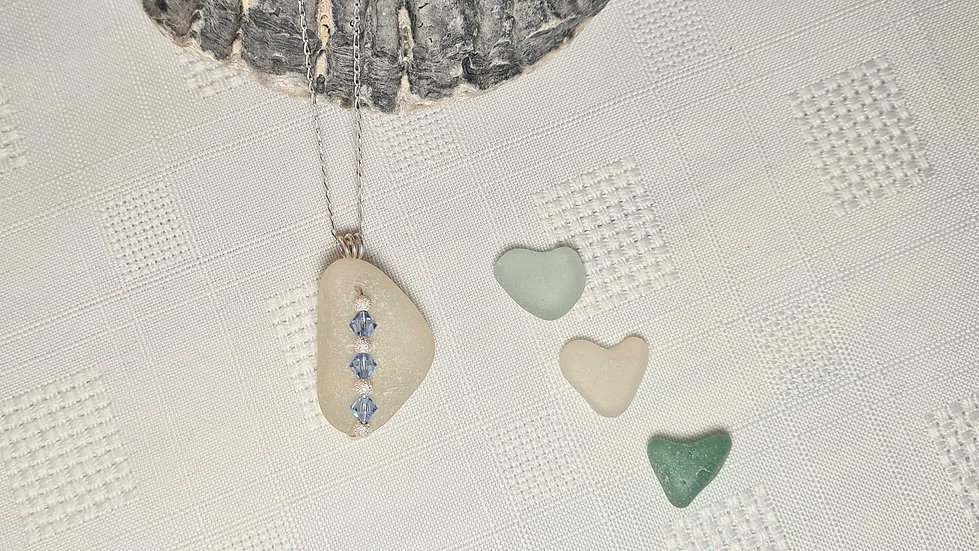 White Sea Glass & Blue Crystal Necklace