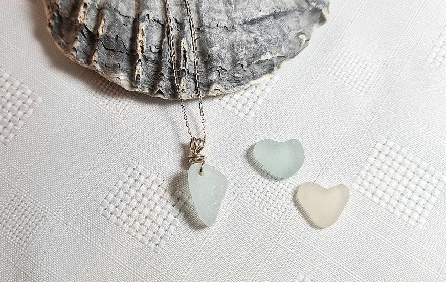 Aqua Sea Glass Sterling Silver Bracelet