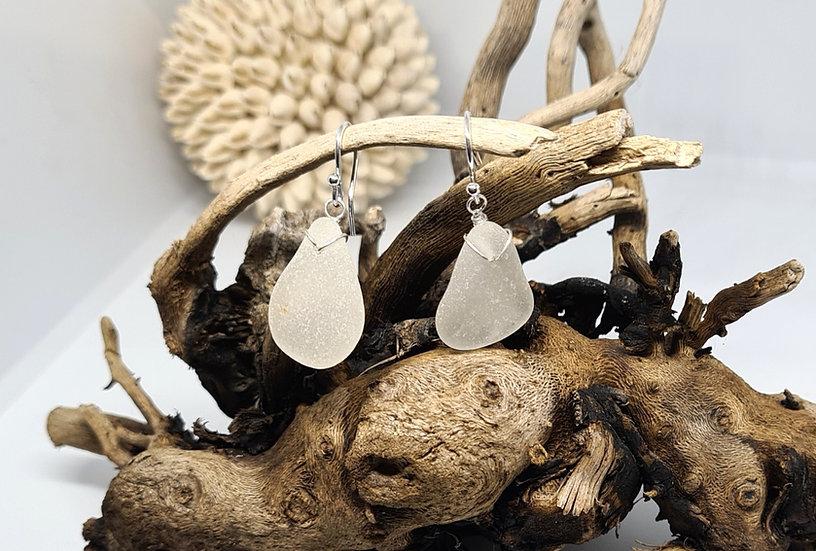 White Sea Glass Single Dropper Earrings