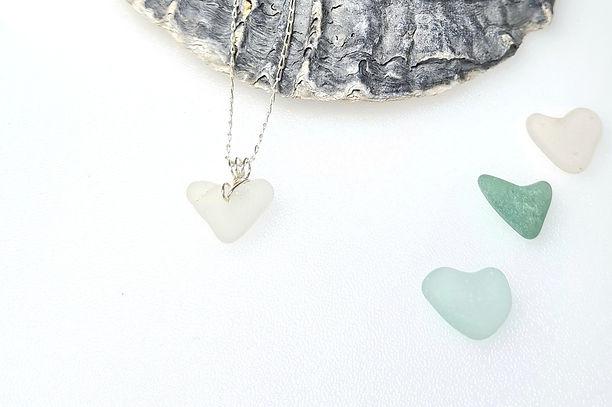 White Sea Glass Heart Bracelet