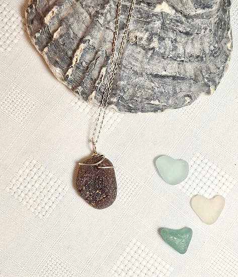 Brown Sea Glass Silver Necklace
