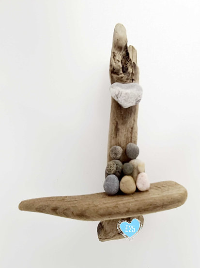 Driftwood/Pebble Family '5' Wall Hanging