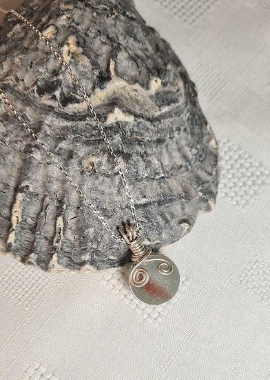 Rare Red Stripe Sea Glass Marble Necklace