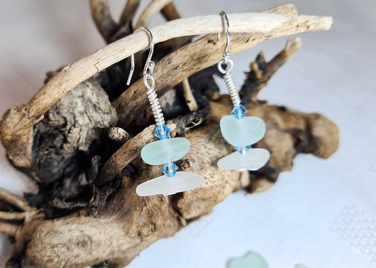 Aqua & White Sea Glass Dropper Earrings