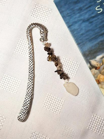 Sea Serpent Bookmark with White Sea Glass