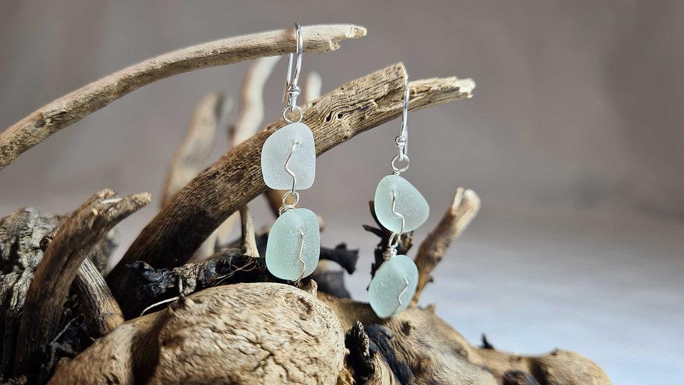 2 Drop Aqua Silver Earrings